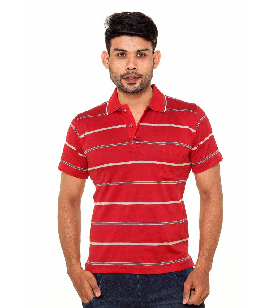 Gleneagles Red Half Sleeve Stripers T-shirt