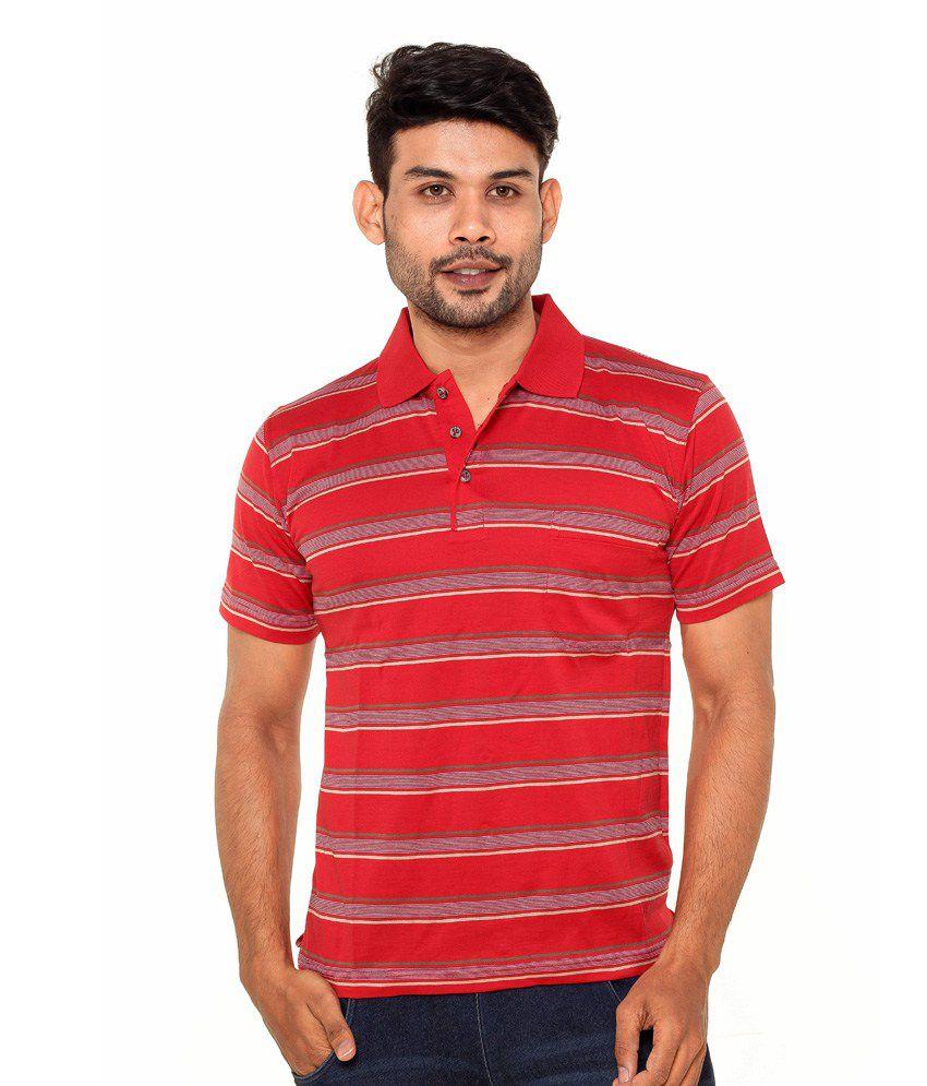 Gleneagles Red Half Sleeve Stripers T-shirt