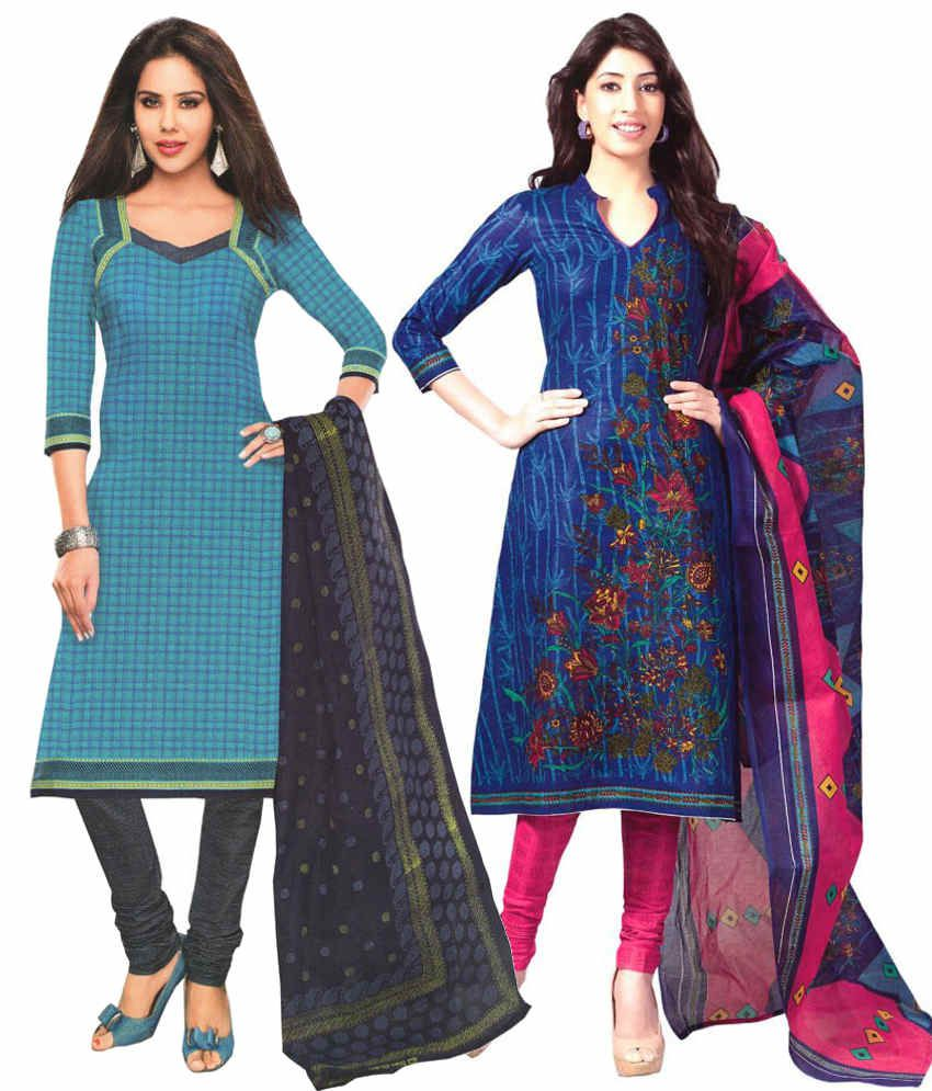 Javuli Blue and Blue Printed Cotton Dress Material (Pack of 2)