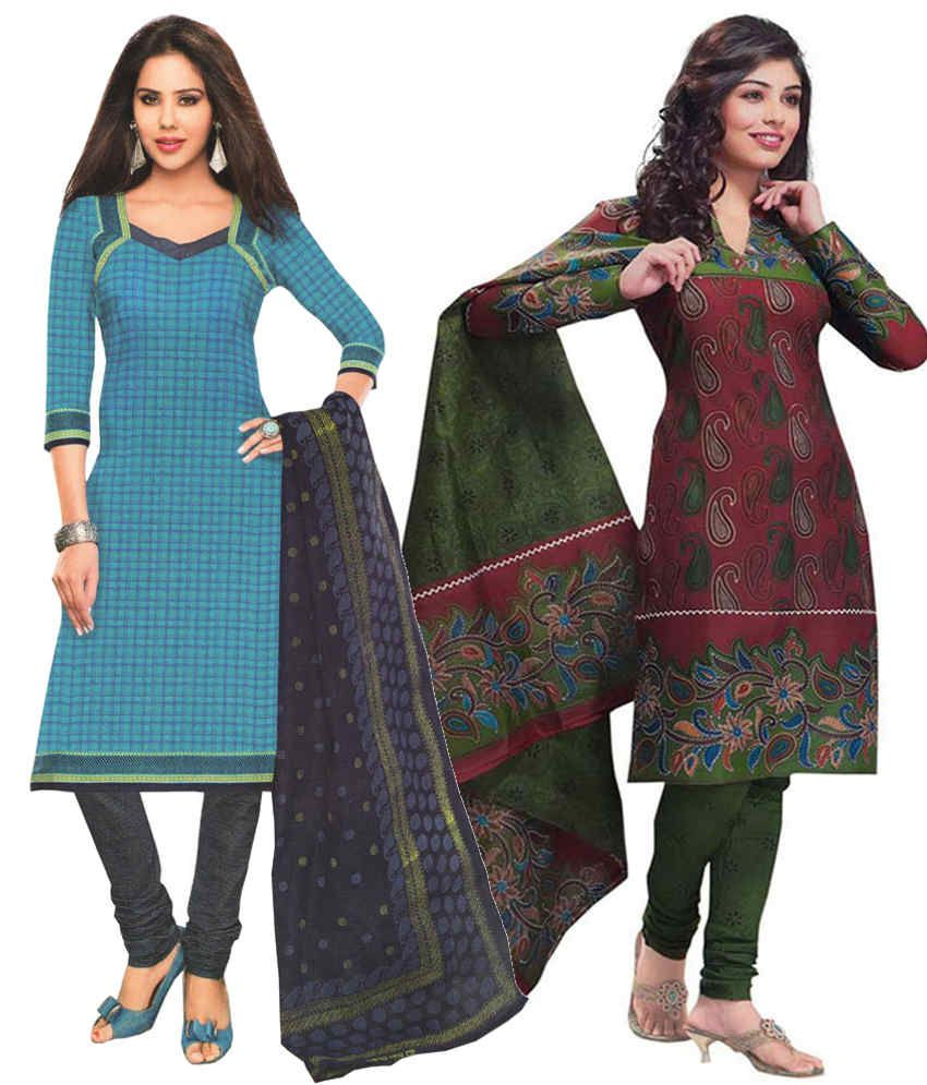 Javuli Blue and Brown Printed Cotton Dress Material (Pack of 2)
