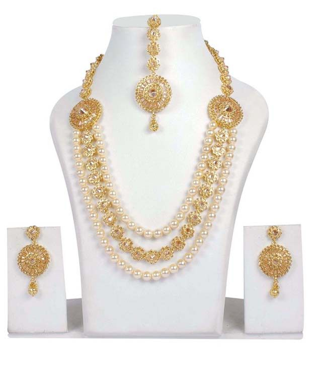 Indian Jewellery And Clothing Polki Necklace Sets From: Much More South Indian Fashion Crystal & Pearl Stone Peach