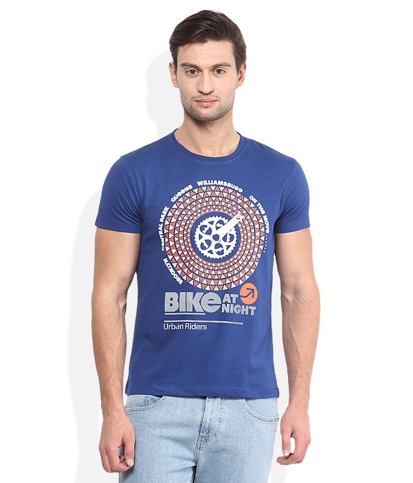 Lee Blue Printed Round Neck T-Shirt
