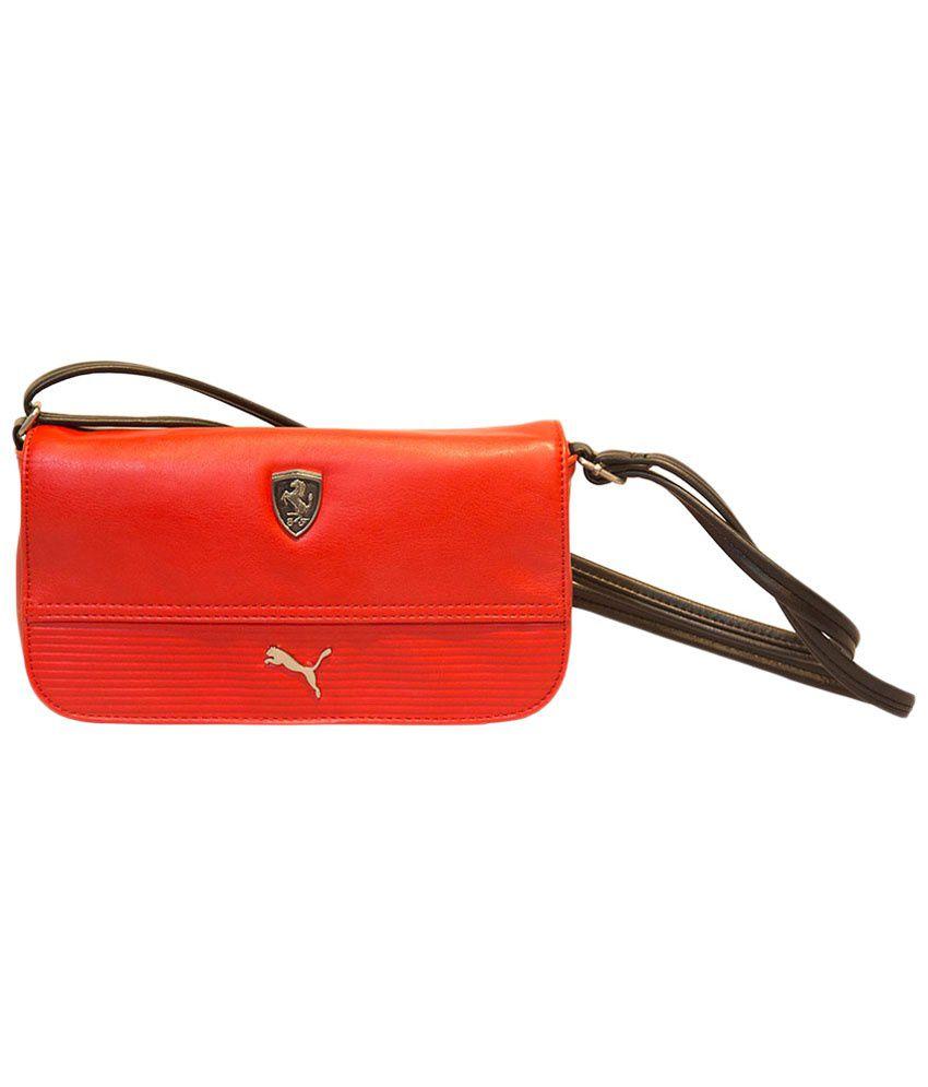 4443719bba4 Puma Red & Black Ferrari PU Sling Bag - Buy Puma Red & Black Ferrari ...