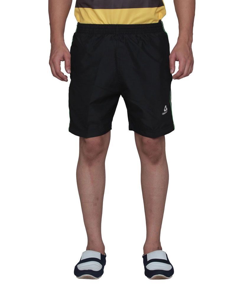 Aerotech Black Polyester Solids Shorts