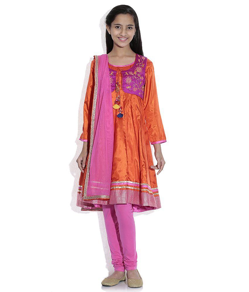 Biba Cotton Blend Orange Full Sleeve Salwar Kameez For Kids