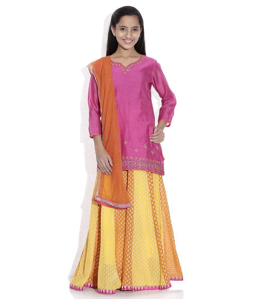 Biba Cotton Blend Pink And Orange Full Sleeve Salwar Kameez For Kids