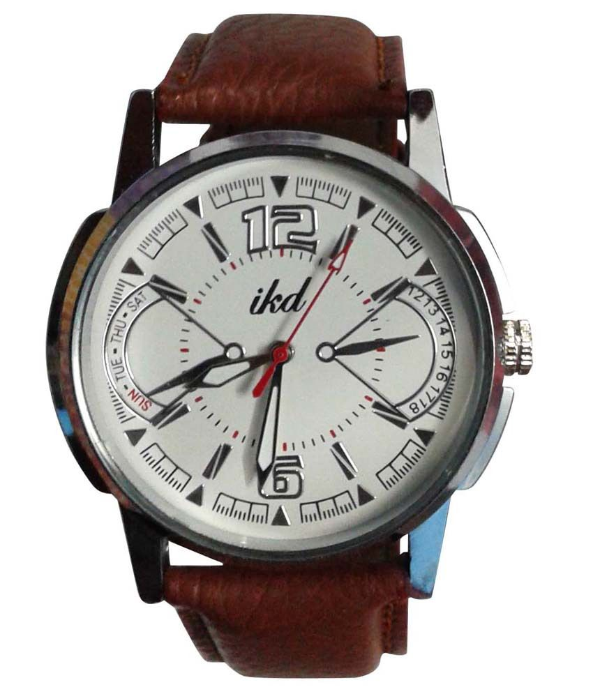 Ikd: Ikd Analog Brown Leather Strap Formal Watch Best Price In
