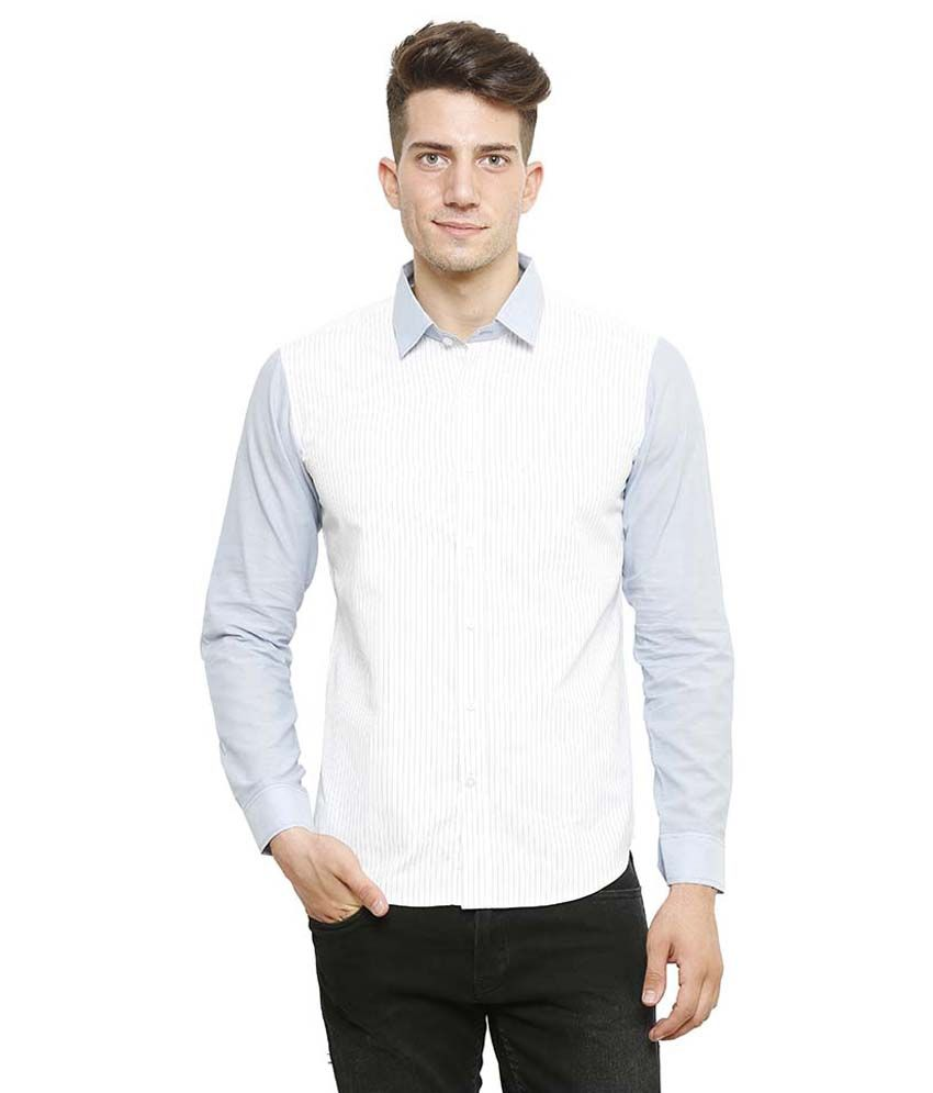 N F Clothing White Cotton Blend Casual Shirt