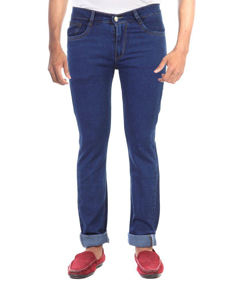 Haltung Blue Cotton Blend Regular Fit Jeans