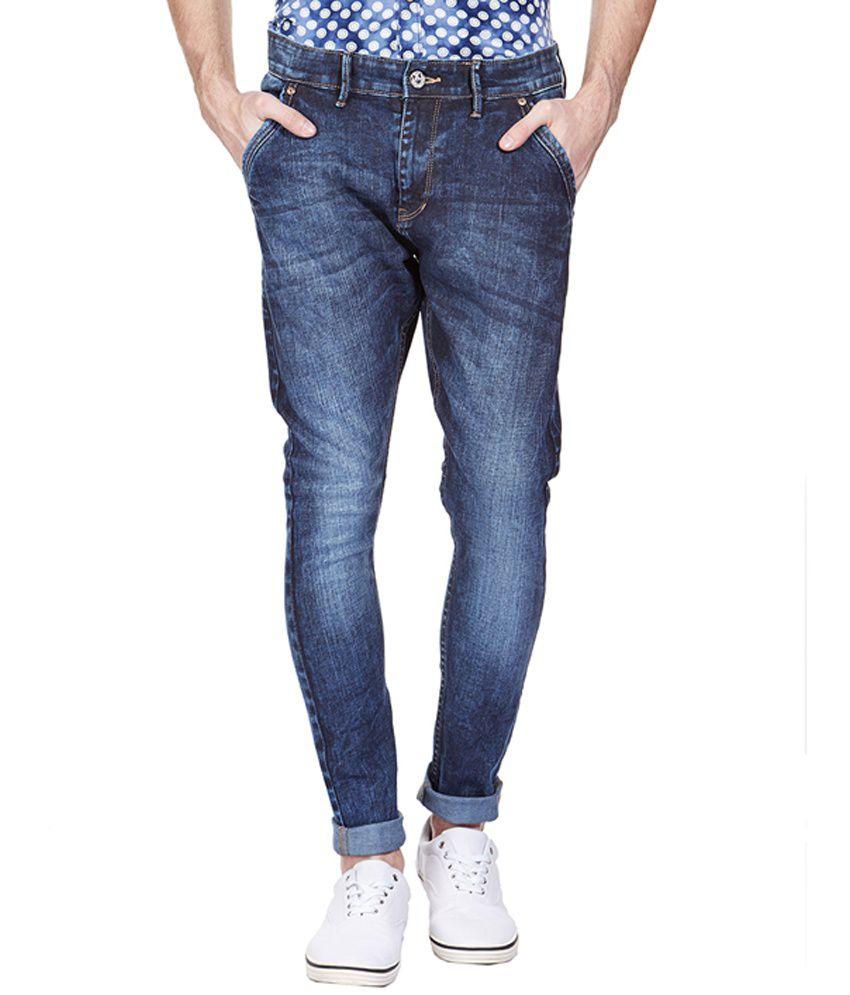 Vintage Blue Cotton Blend Slim Fit Jeans