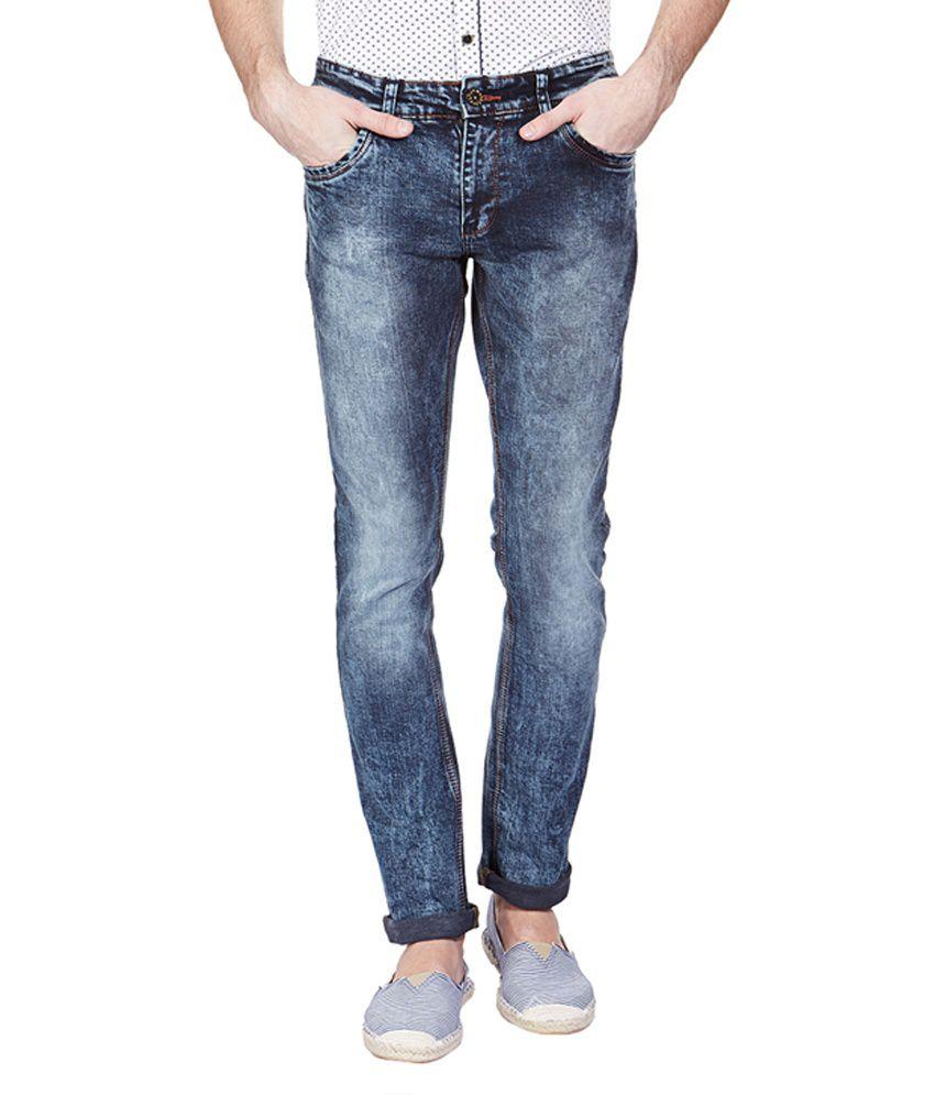 Vintage Navy Blue Cotton Blend Slim Fit Jeans
