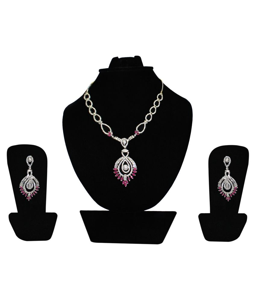 Kanchan's By Inlehaat Silver Alloy American diamonds Necklace Set