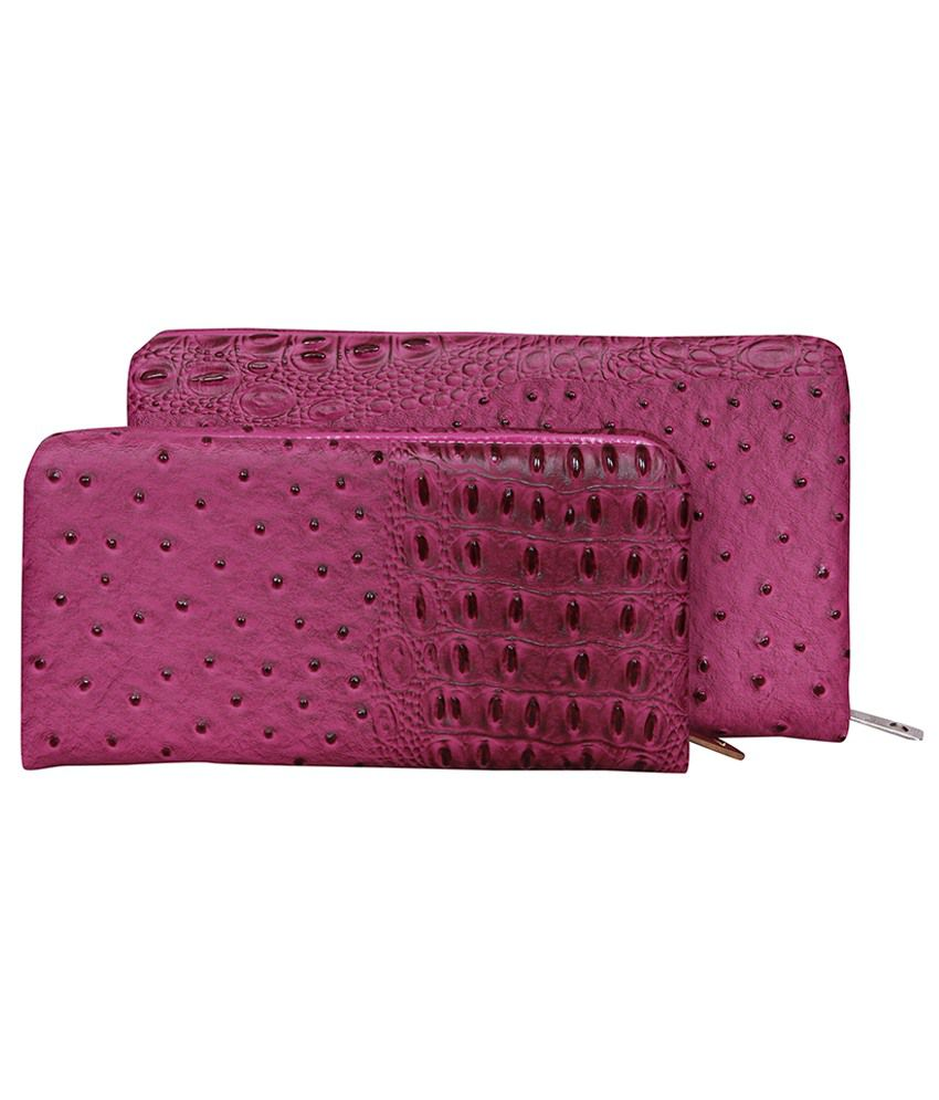 Naaz Bags Collection Pink For Women Long Wallet Pack Of 2