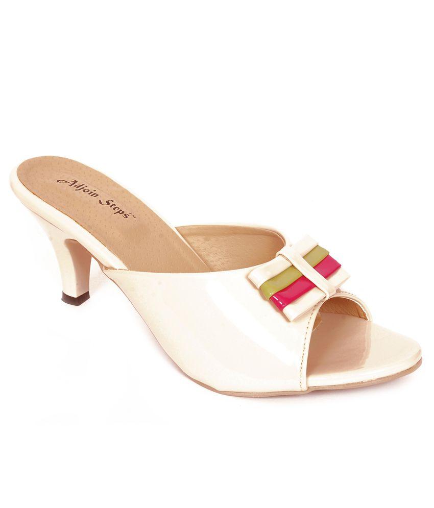 Adjoin Steps Party Wear White Heels