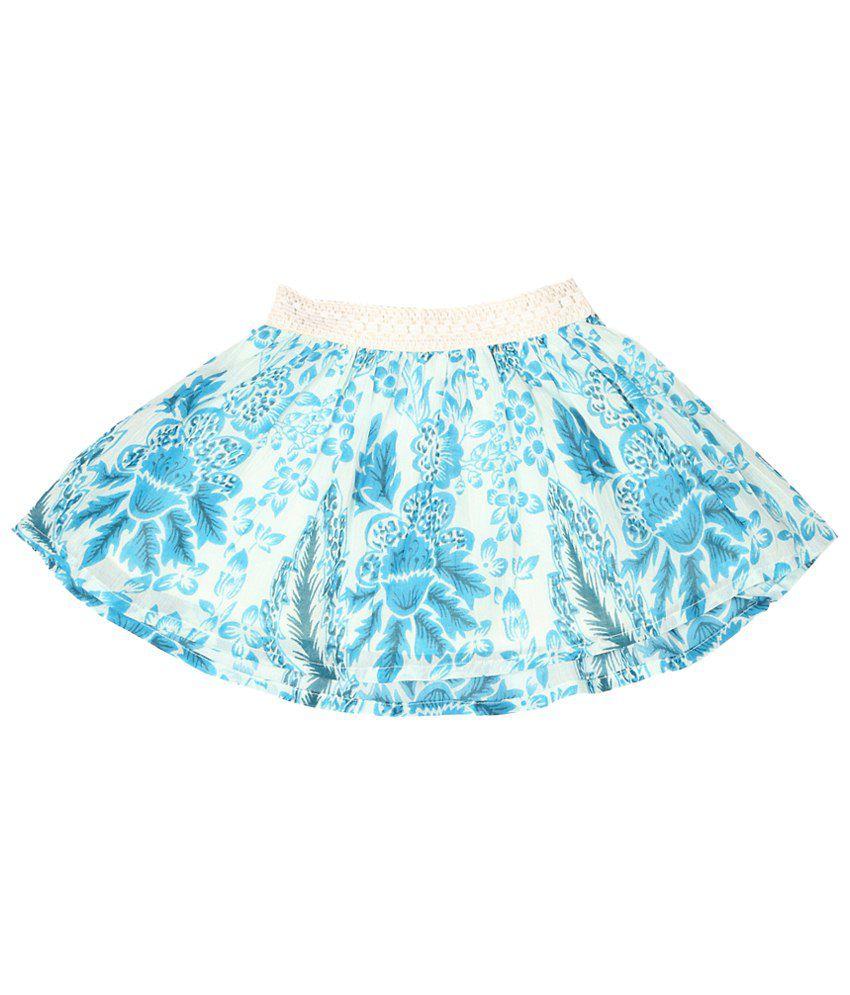 Allen Solly Blue & White Printed Skirt