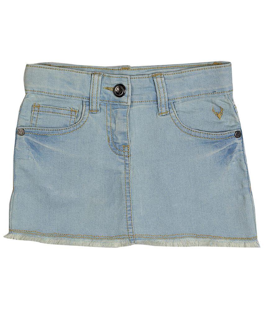Allen Solly Light Blue Solid Denim Skirt
