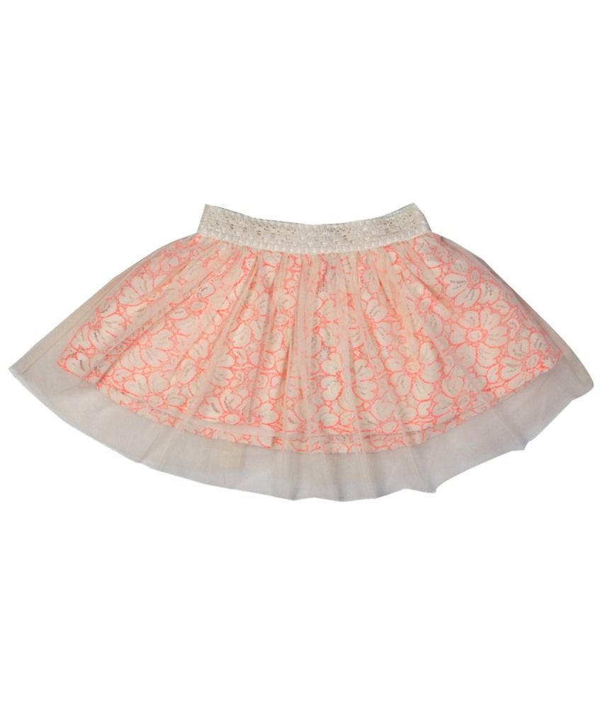 Allen Solly White & Peach Printed Skirt