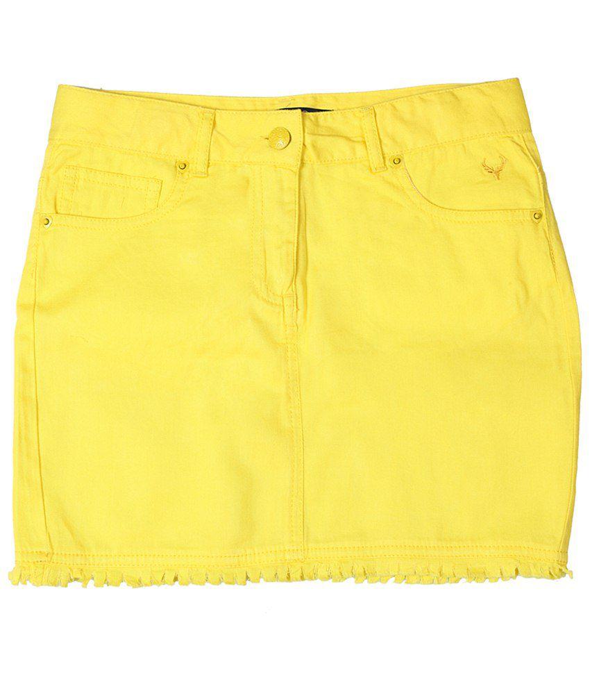 Allen Solly Yellow Solid Skirt