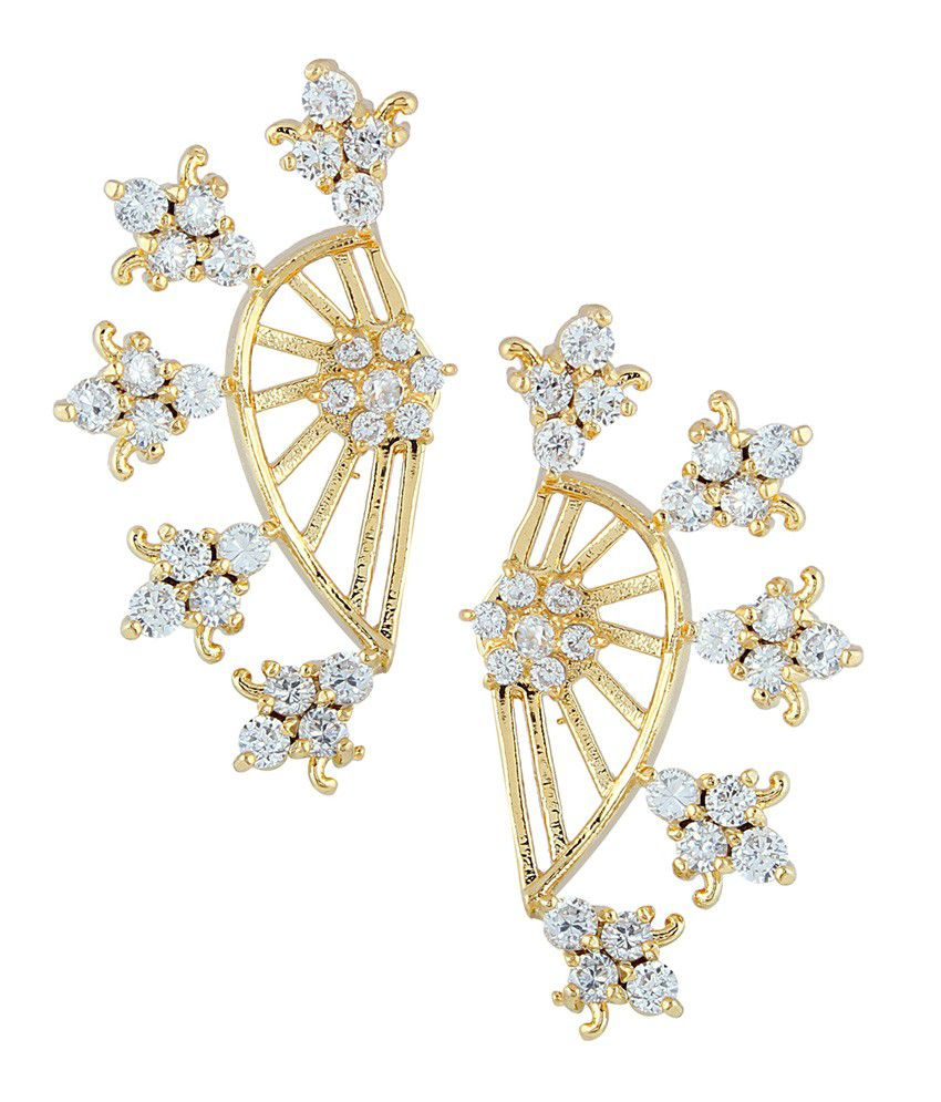 Archi Collection White Alloy Ear Cuffs