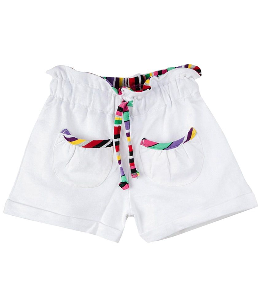 Oye White Cotton Shorts