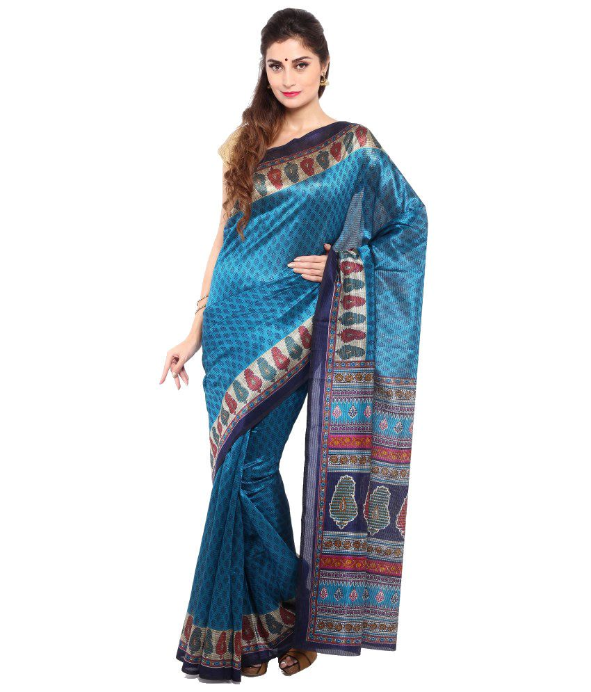 Sudarshan Silks Blue and Beige Art Silk Saree with Blouse Piece