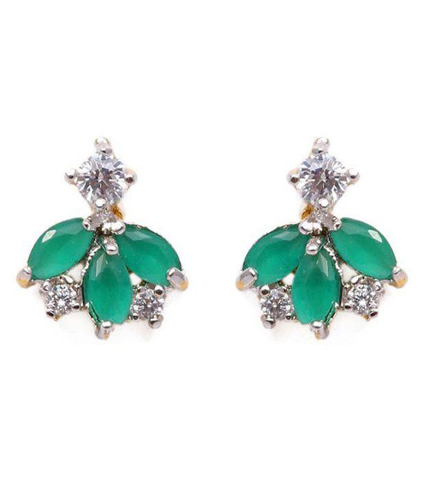 Ankur Gems Green Alloy American Diamonds Stud Earrings