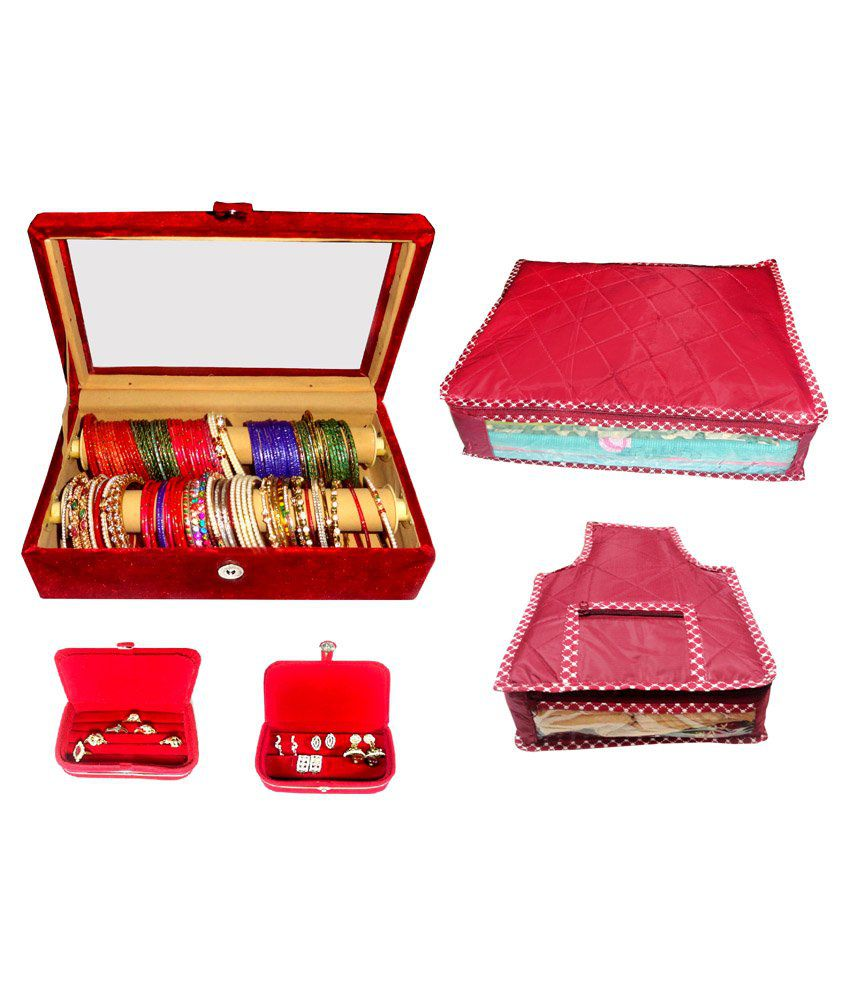 Atorakushon Roll Rod Bangles Box With Clear Plastic 1 Saree Cover 1 Blouse Cover 1 Earring Box 1 Ring Box - Combo Of 2