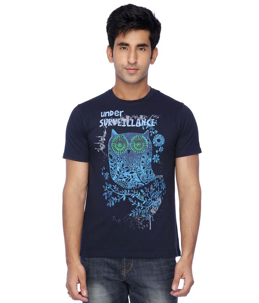 Life by Shoppers Stop Navy Cotton T-Shirt