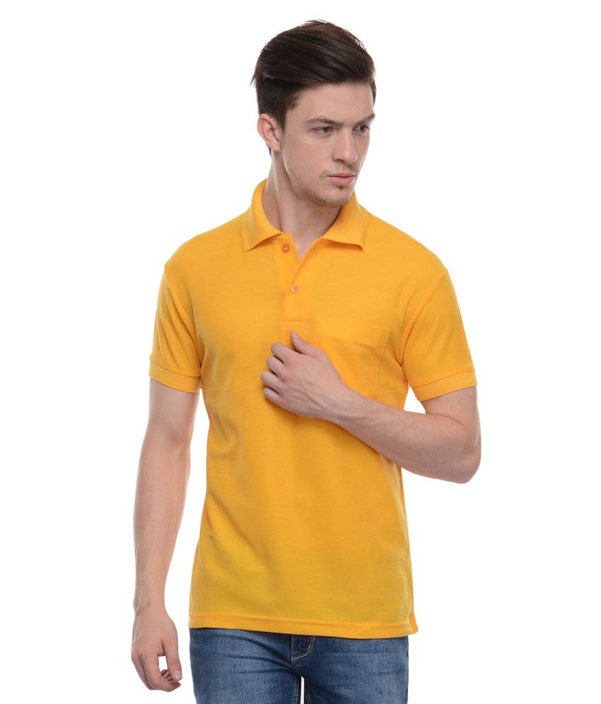 Tab91 Yellow Cotton Blend Polo T-shirt