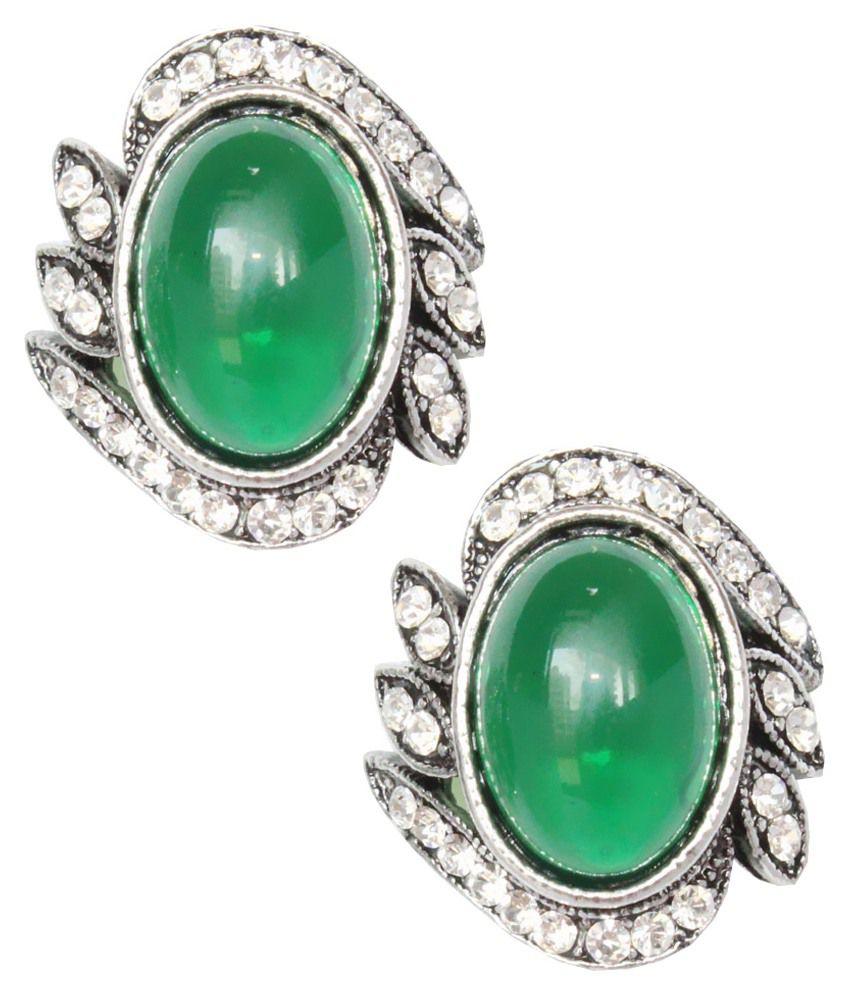 Cyazz Green Alloy Stud Earrings