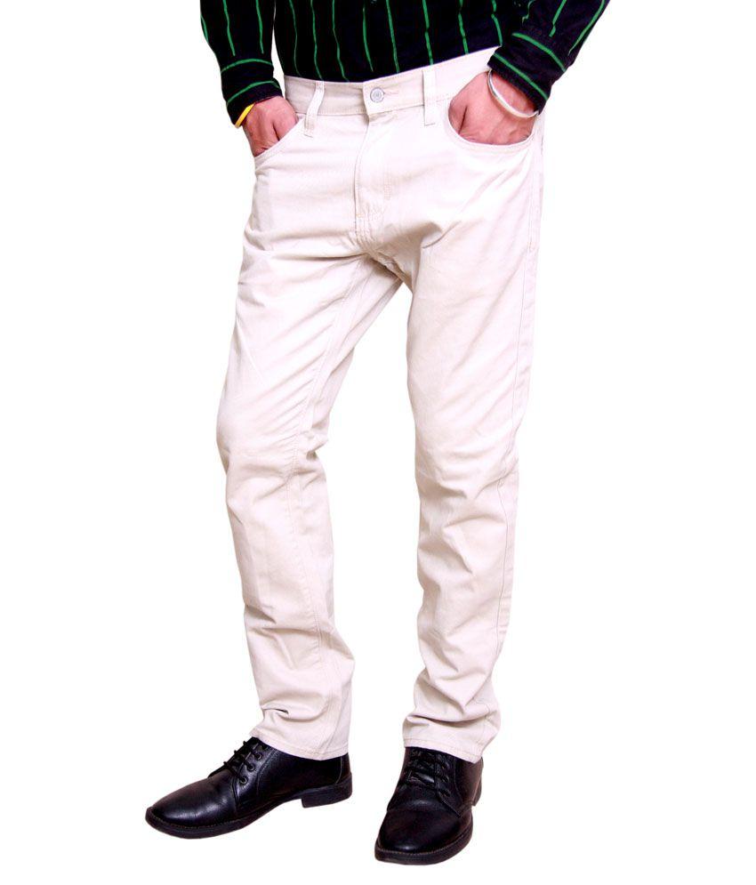 The International Brand White Cotton Regular Fit Chinos
