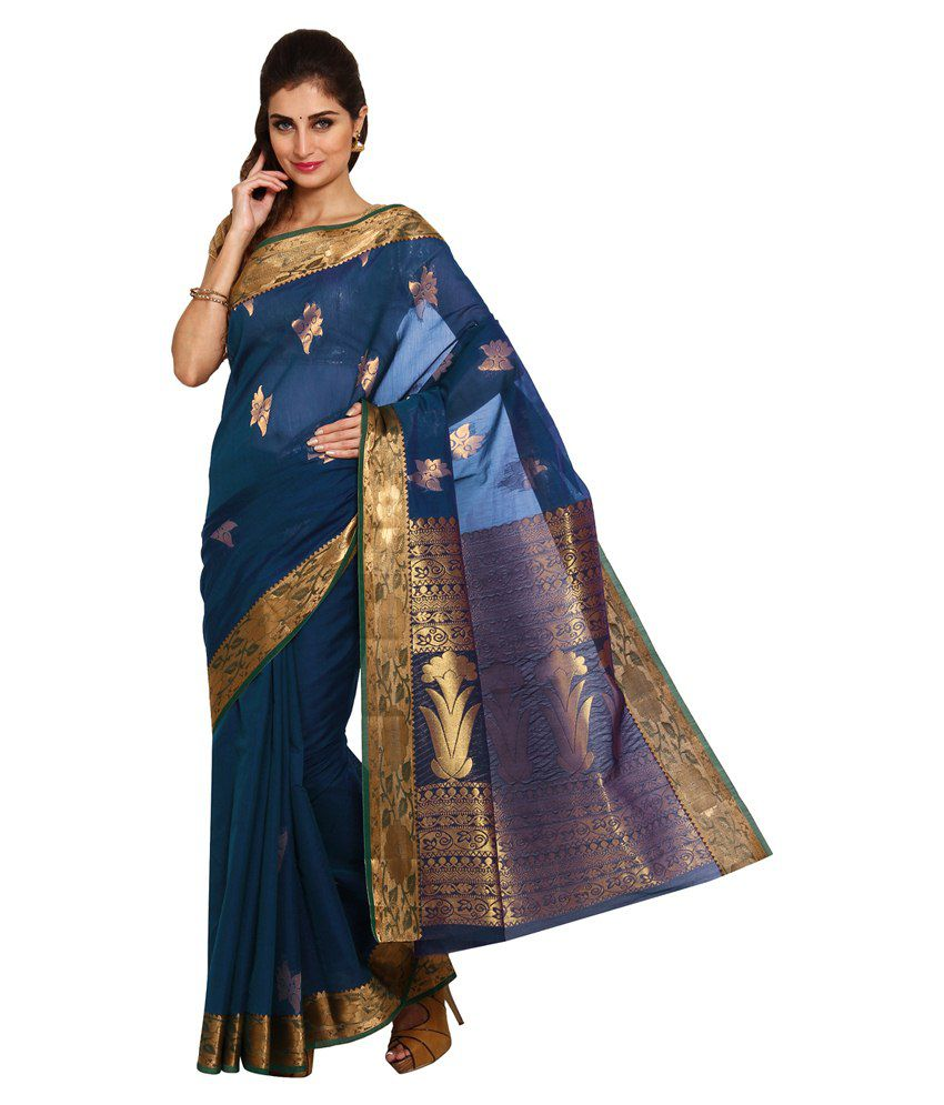 Platinum Multi Cotton Silk Saree