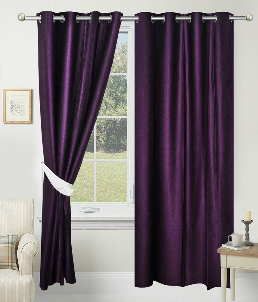 Azaani Set Of 2 Door Eyelet Curtains Solid Purple