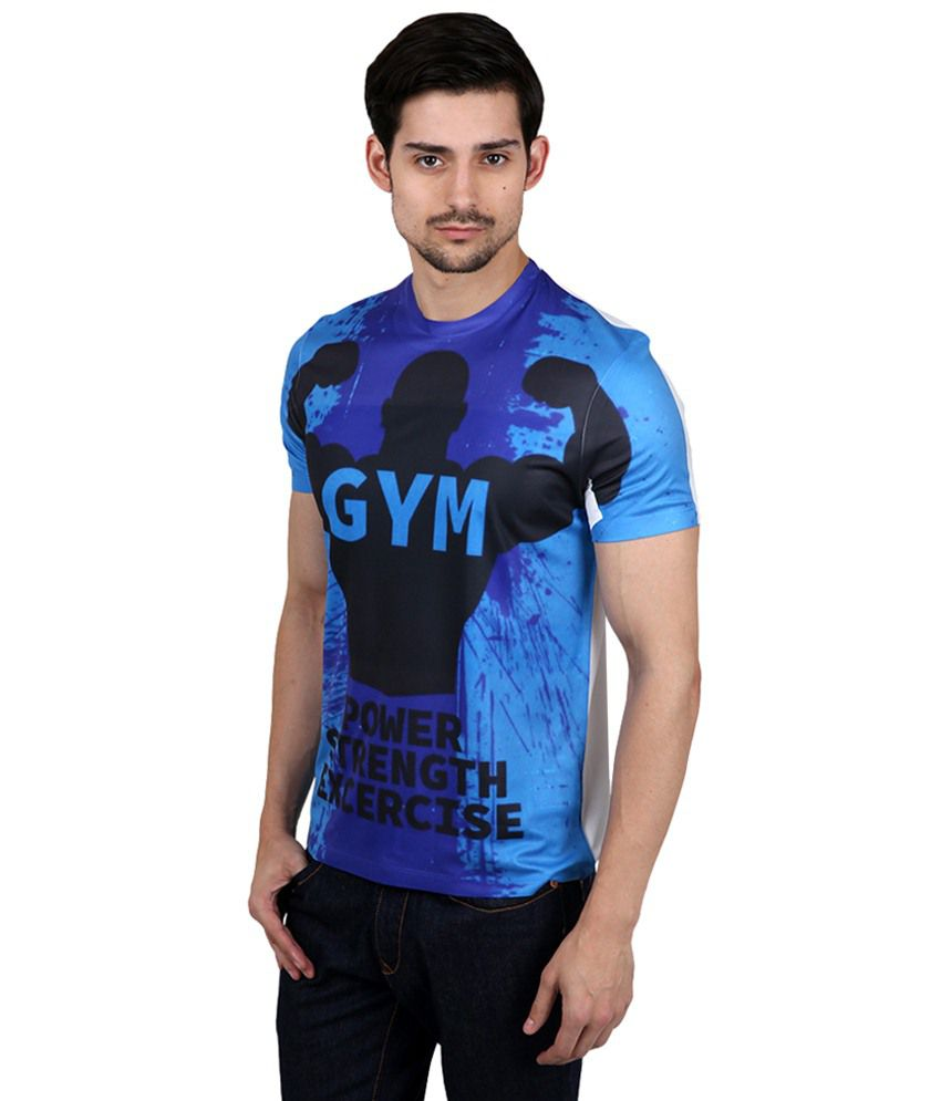 Black t shirt express -  Freecultr Express Blue Black Gym Power Printed T Shirt