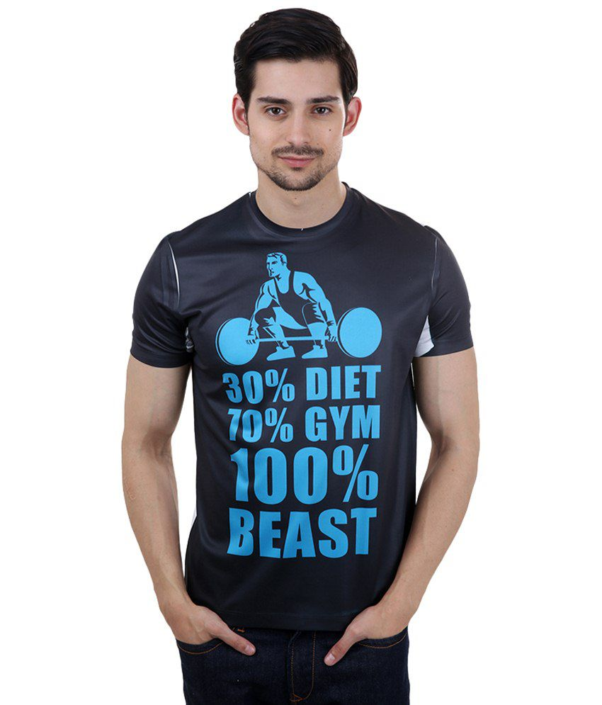 Freecultr Express Navy Blue The Gym Schedule Printed T Shirt