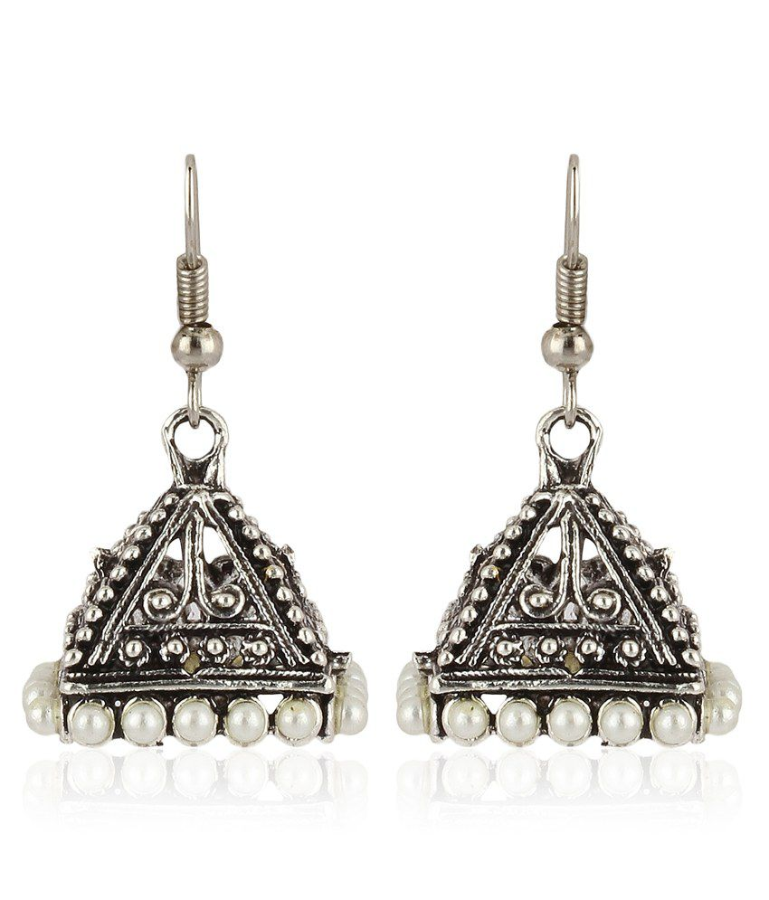 Moedbuille Silver Toned Jhumkis