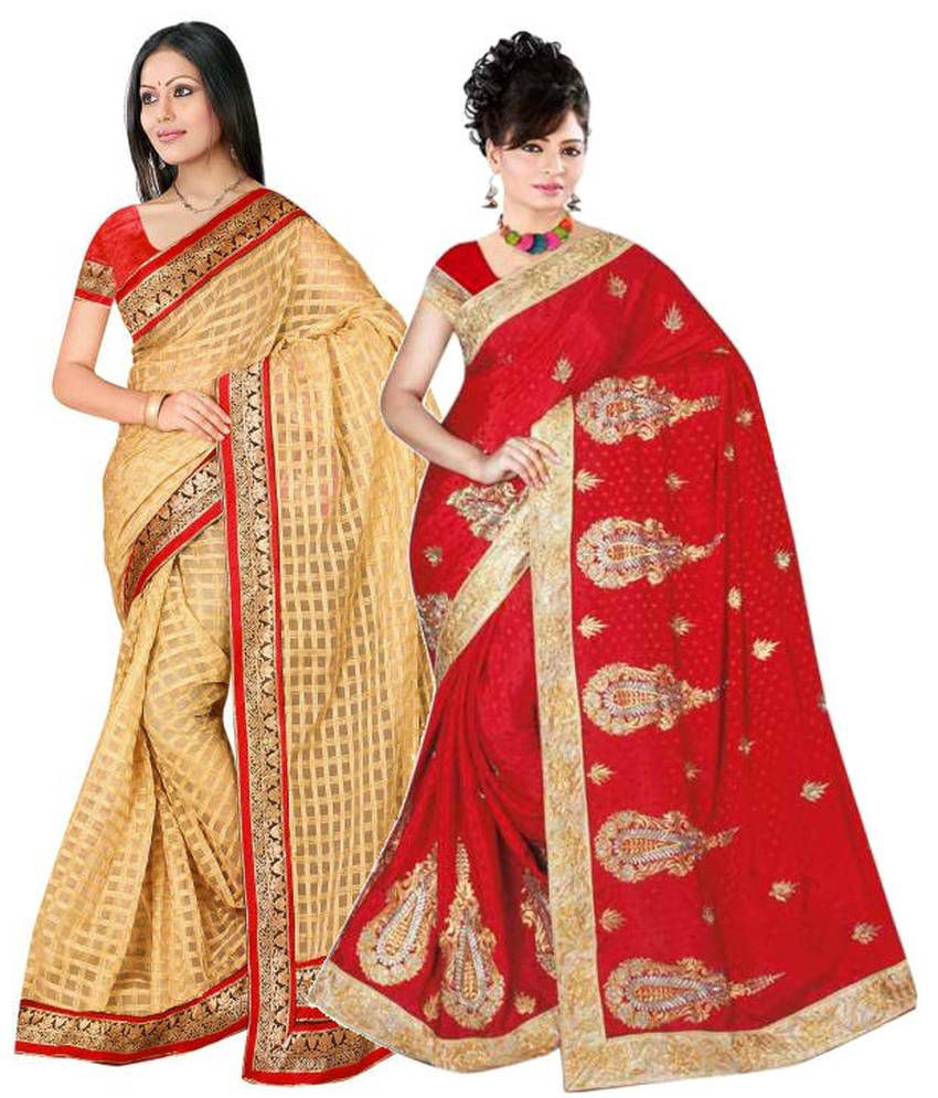 Reya Combo of Yellow and Red Embroidered Faux Georgette Sarees with Blouse Piece (Pack of 2)
