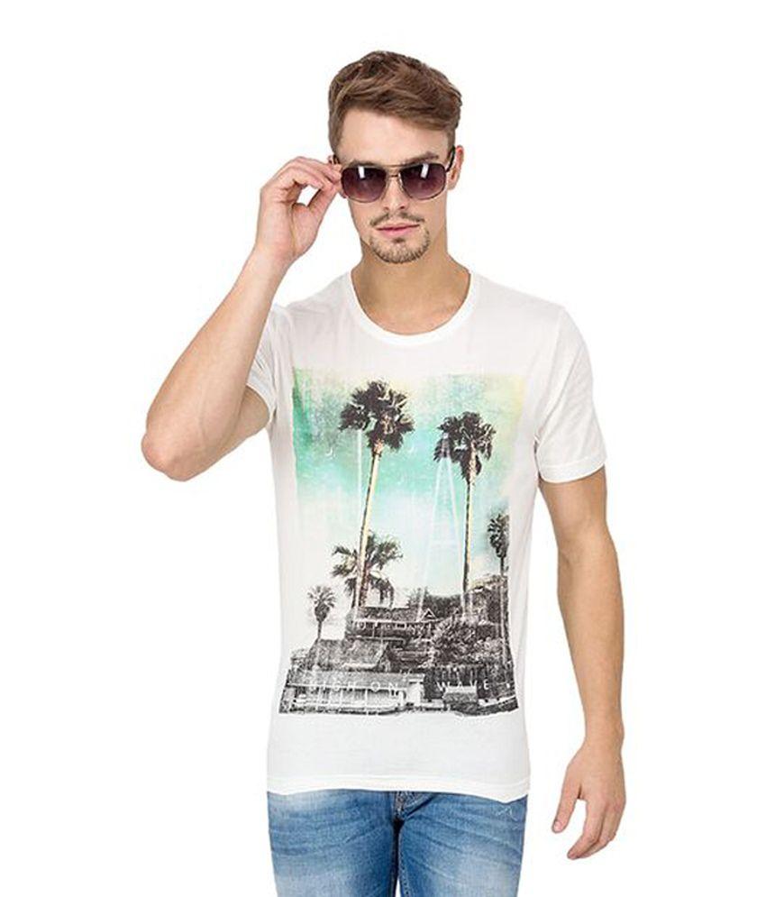 Slub White Cotton Round Neck Printed Men's T-Shirt