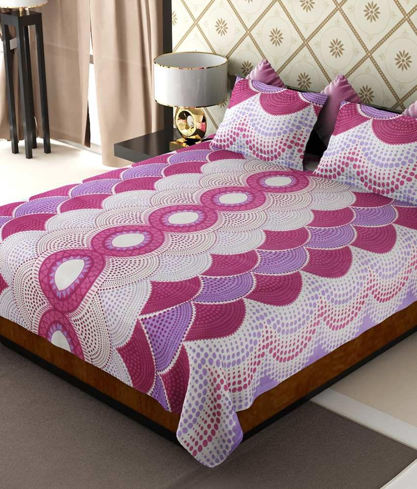Home Candy Purple Geometrical Cotton Double Bedsheet with 2 pillow cover