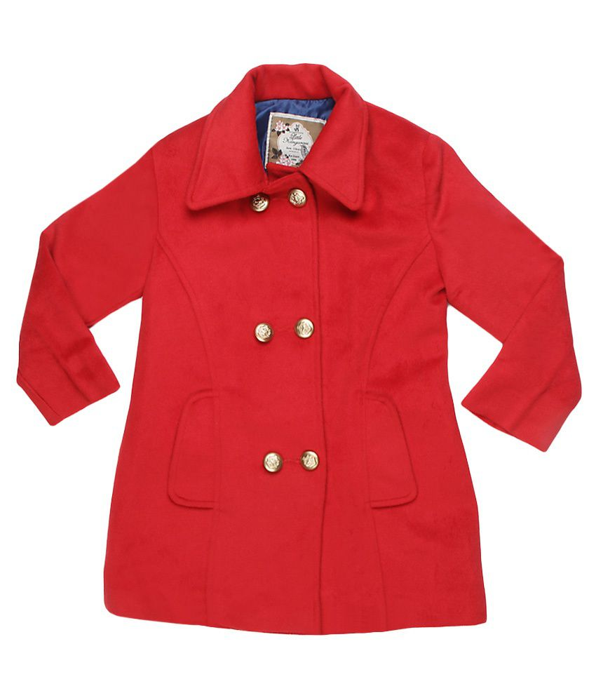 Little Kangaroo Full Sleeves Red Color Collor Neck Jacket For Kids
