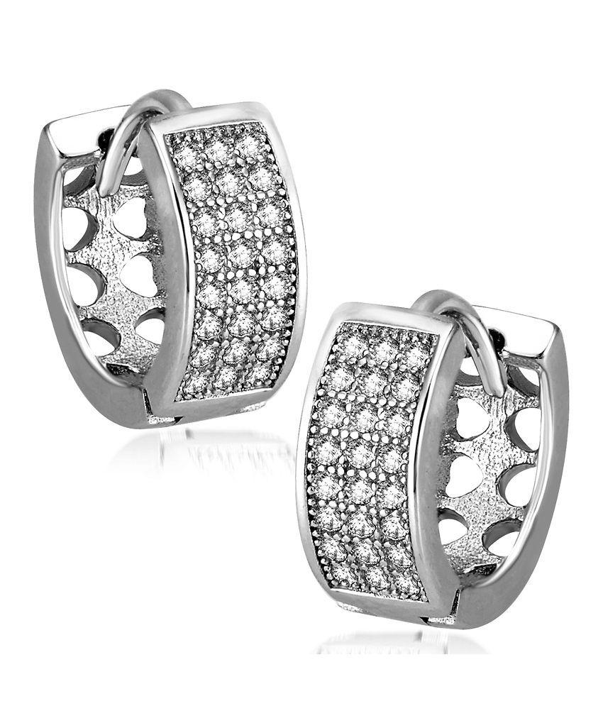 Om Jewells 92.5 Sterling Silver Cubic Zirconia Balis Earrings