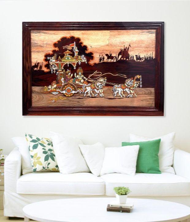 The Unique Craft Wooden Painting Gita Updesh 3D