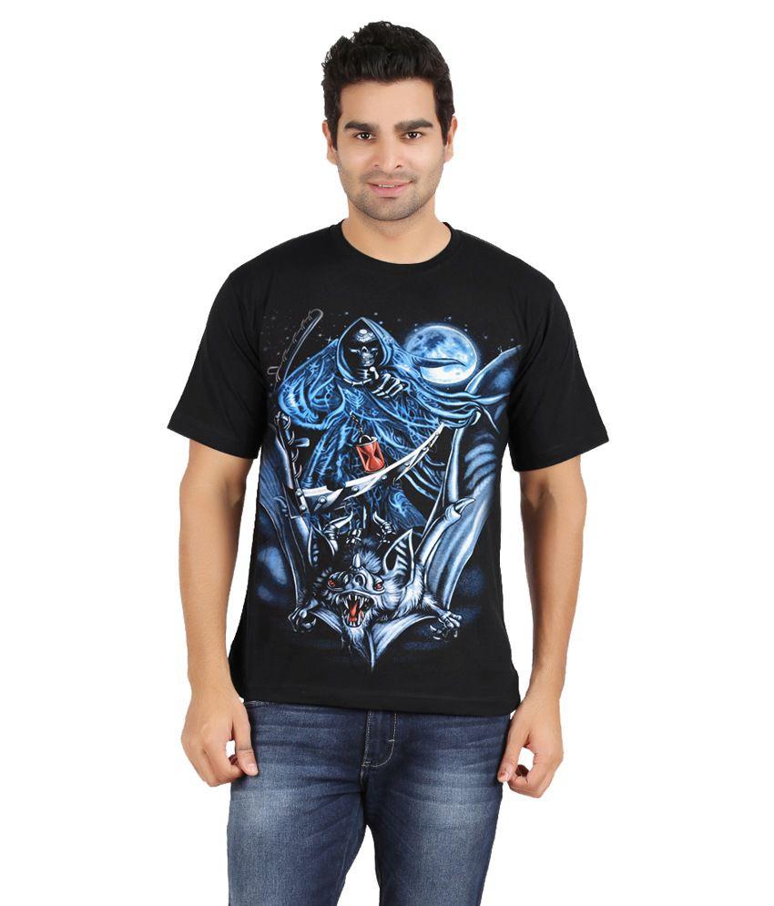 Avenster Black Cotton Printed T-shirt