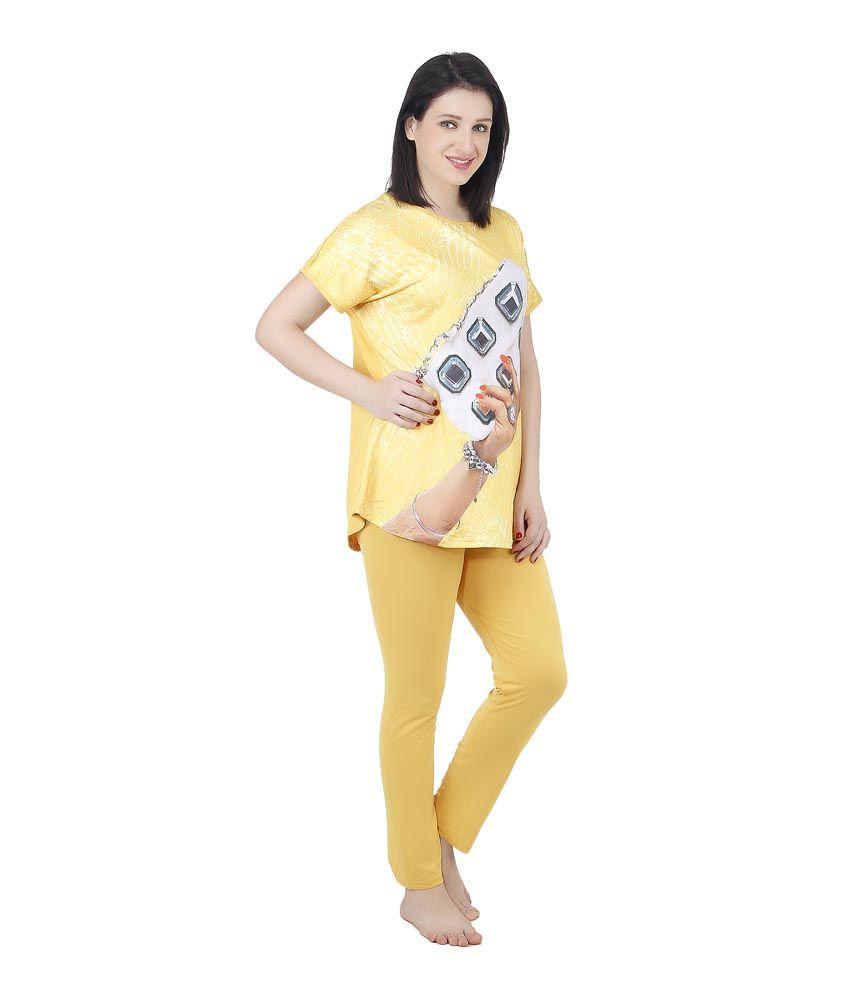 Camey Yellow Viscose Nightsuit Sets