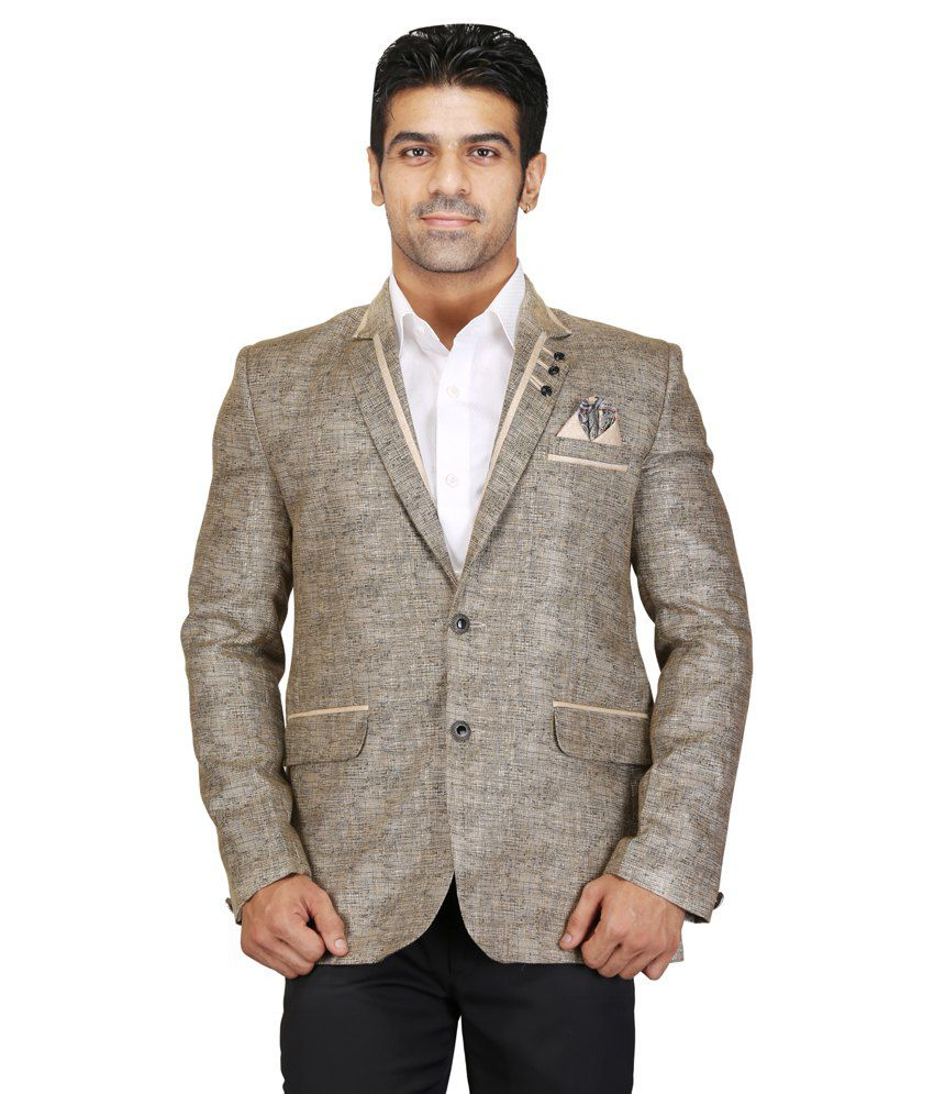 Chandhok Grey Poly Viscose Blazer