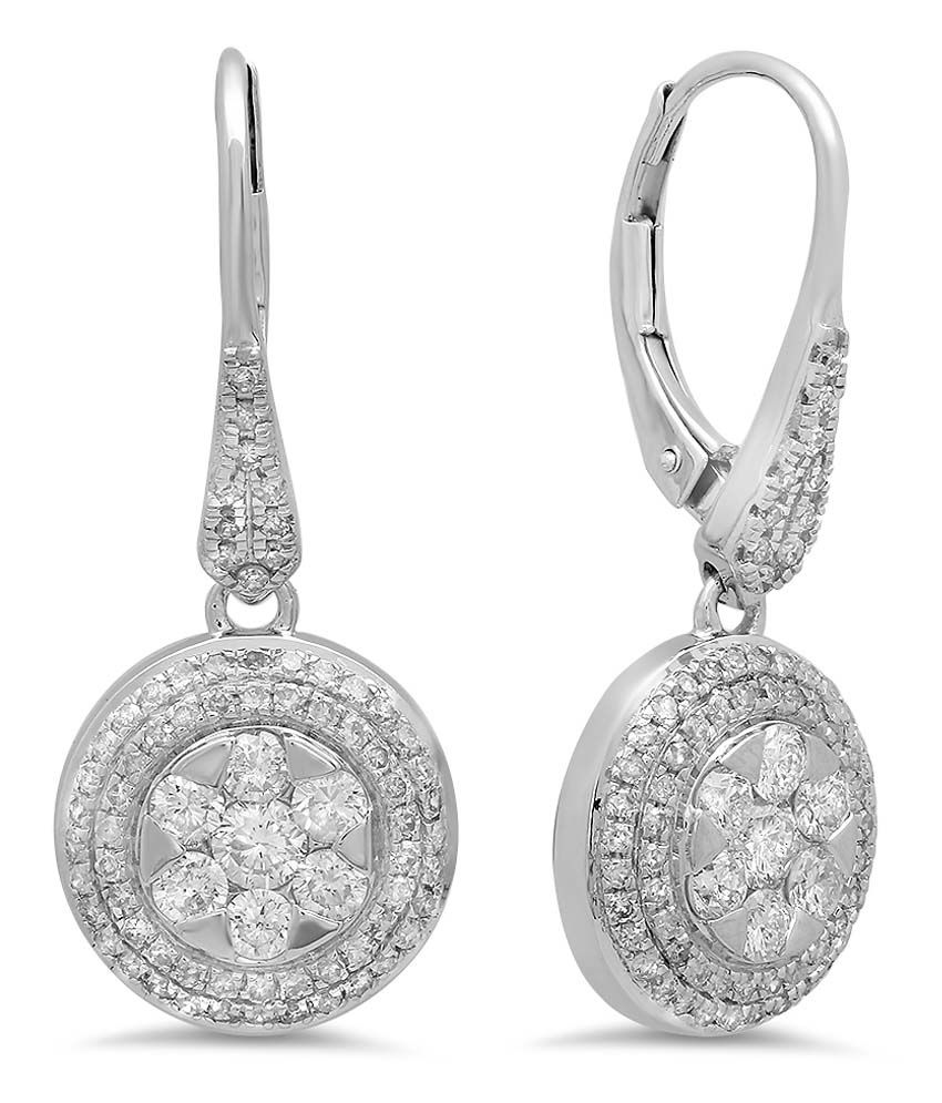 Kavya Jewels 10Kt White Gold Diamond Drop Earrings
