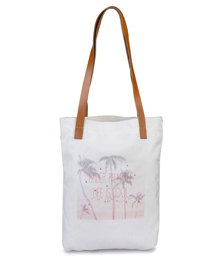 Krivi White Canvas Tote Bag