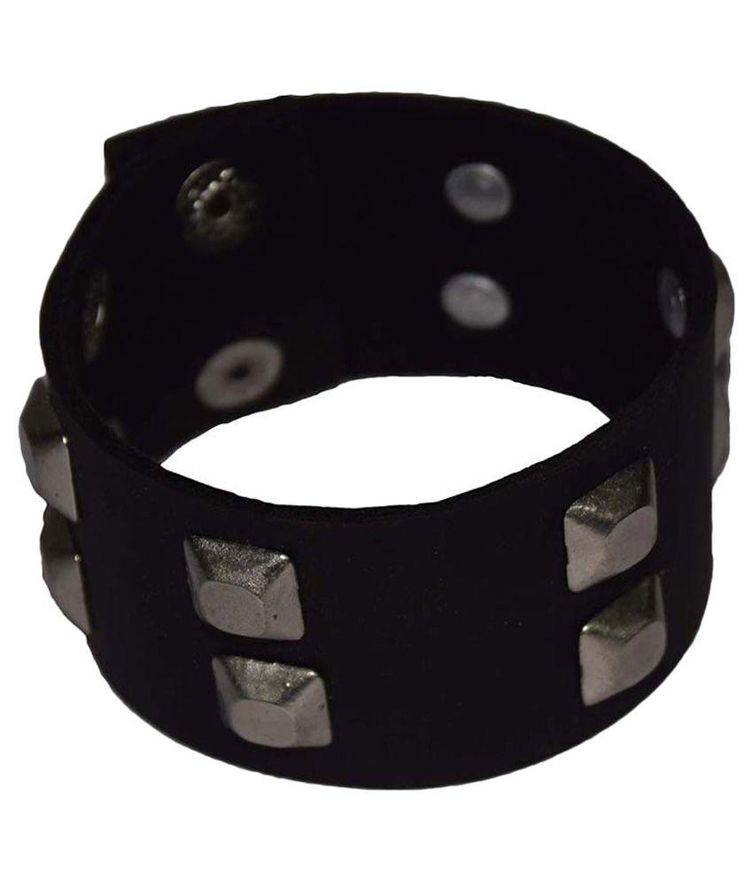 New Sakshi International Black Faux Leather Wrist Band