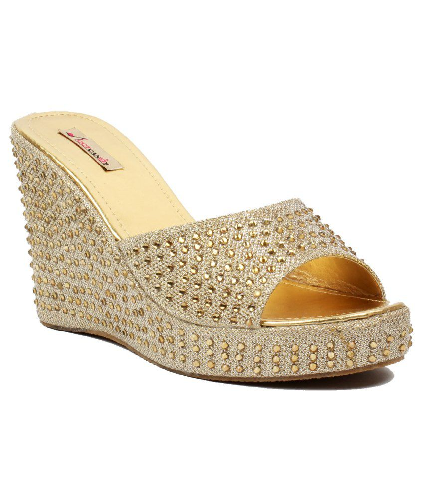 Foot Candy Golden Heeled Slip Ons