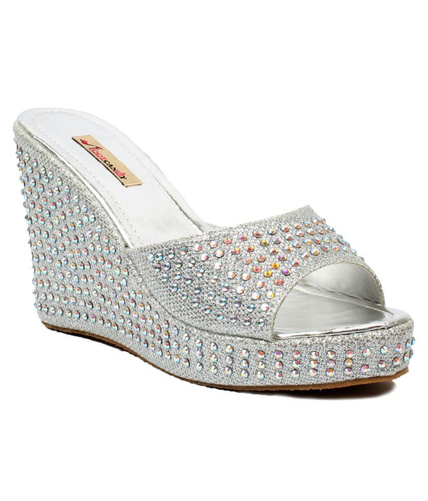 Foot Candy Silver Heeled Slip Ons